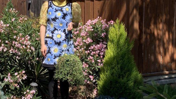 Goodwill dress and Ross puff sleeve shirt