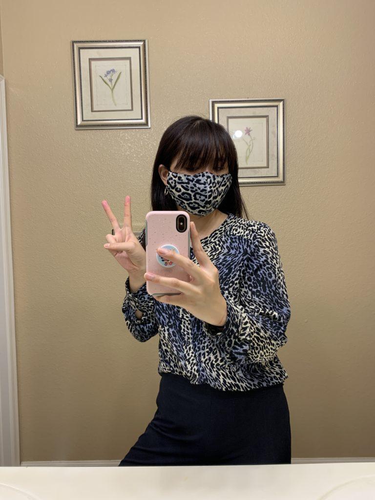 Animal print shirt with mask