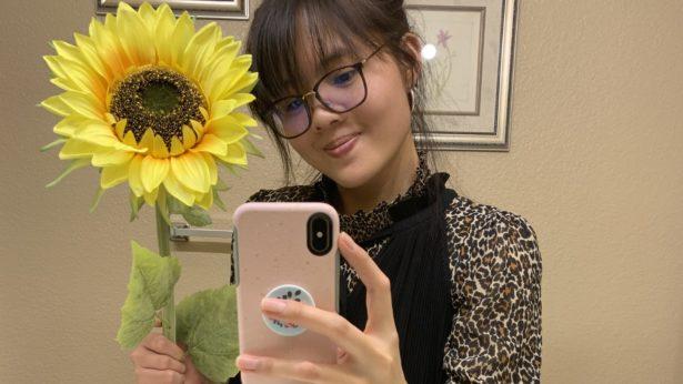 Animal print shirt with dress and sunflower